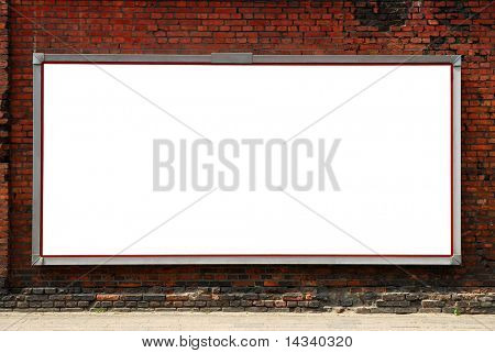 Billboard on brick wall
