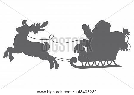 Vector Christmas Santa Claus silhouette with reindeer