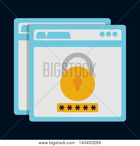 padlock site cyber security system technology icon. Colorful and flat design. Vector illustration