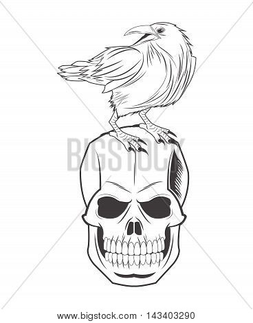 skull eagle tattoo face gothic death evil icon. flat and isolated design. Vector illustration