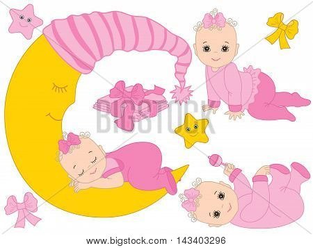 Vector baby girl set in pink color with rattle, bows, stars and the moon