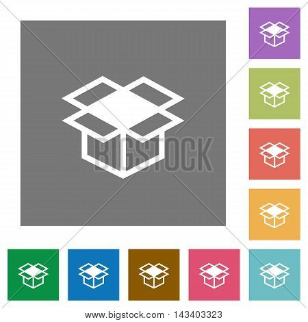 Open box flat icon set on color square background.