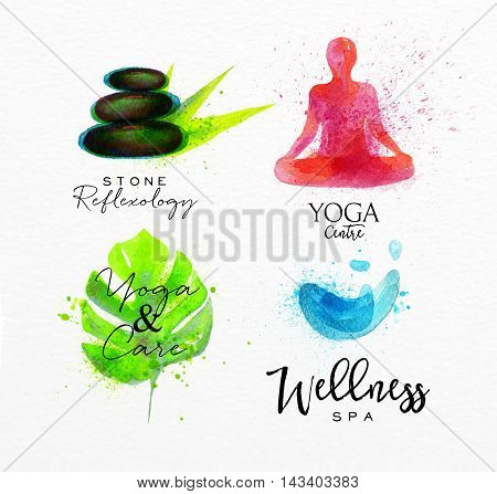 Symbols beauty natural SPA drawing with watercolor symbol stone leaf yoga water