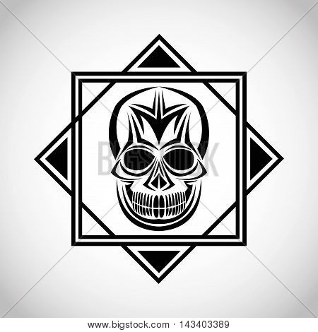 skull tattoo face gothic death evil icon. flat frame and isolated design. Vector illustration