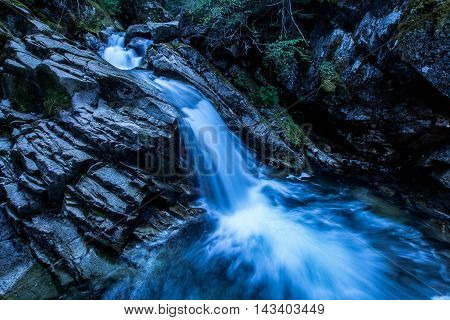 a time delay waterfall in a crystal blue river