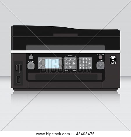 Copier and computer printer flat. Printing and office printer. Printer paper isolated on table. Vector illustration
