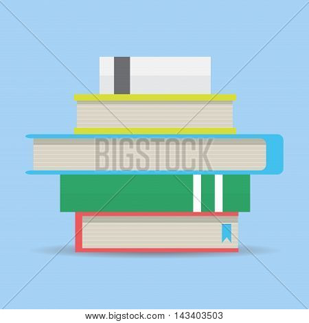 Stack of book flat design. Library and reading book vector illustration