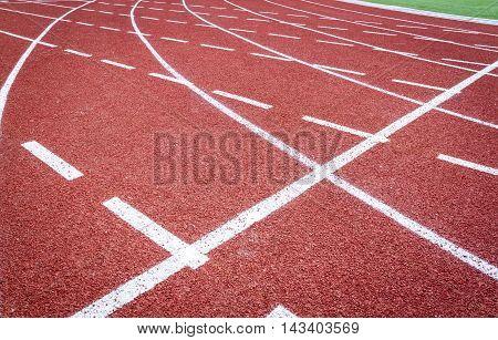 Running track in stadium, fragment of track on athletic stadium