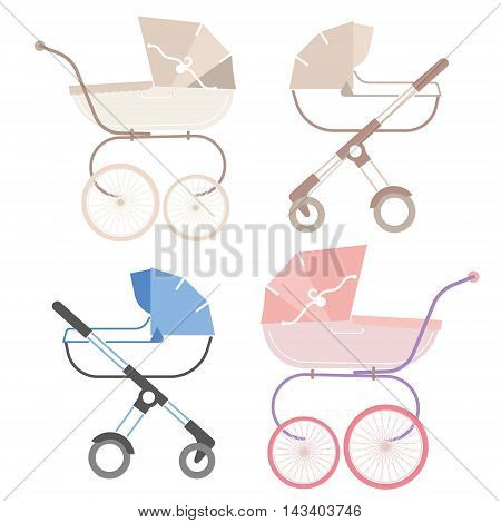 pram for boy and girl, retro and modern, baby carriage