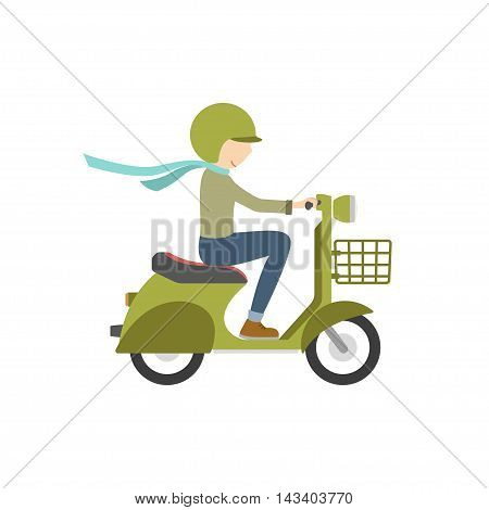 Boy riding on a scooter . Illustration in flat style on a white background. Vector illustration