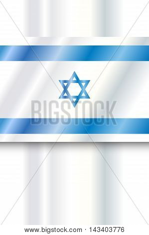 Israel Flag. Vector digital Illustration. Israel flag poster, background. Blue and white color, star of David. Independence Day, Israel national holiday.