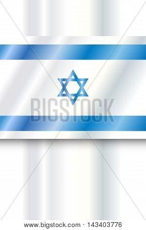 Israel Flag. Vector digital Illustration. Israel flag poster, background. Blue and white color, star of David. Independence Day, Israel national holiday.