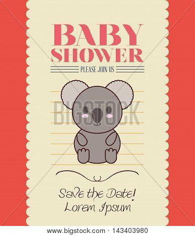 koala cute animal cartoon baby shower card icon. Colorful and flat design. Vector illustration