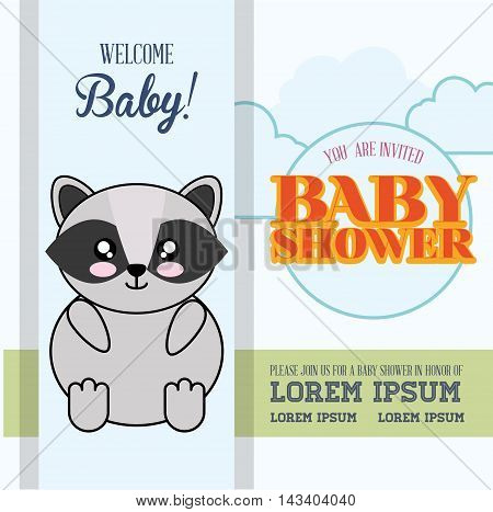 raccoon cute animal cartoon baby shower card icon. Colorful and flat design. Vector illustration