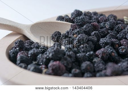Aronia In Wooden Bowl