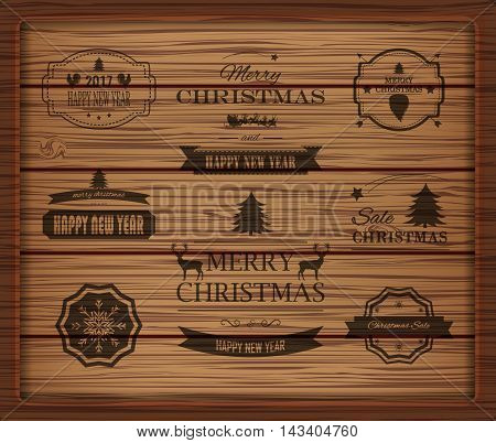 Christmas Decorations Vector Design Elements. Symbols, Icons, Vintage Labels, Badges, Ornaments and Ribbon, Merry Christmas Happy New Year and Happy Holidays wishes.