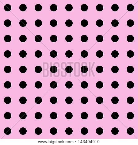 Dot. Polka Dot pattern. Polka Dots Classic Trend. Pink and black popular color. Black dots on pink background. Illustration for Art, Print, Fashion, textile print, bags, web Spring, Summer design.