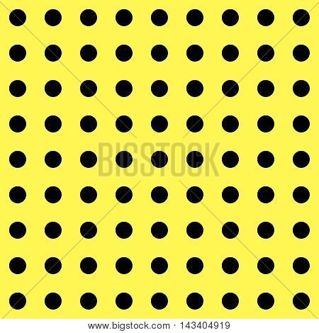 Polka Dot pattern. Polka Dots Classic Trend. Yellow and black popular color. Black dots on yellow background. Illustration for Art, Print, Fashion, textile print, bags, web Spring, Summer design.