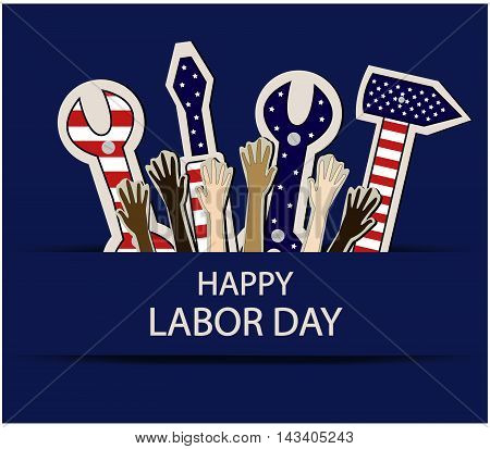 Happy Labor day greeting card or background.