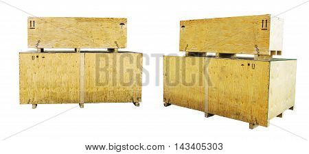 Two Wooden crate isolated on white background