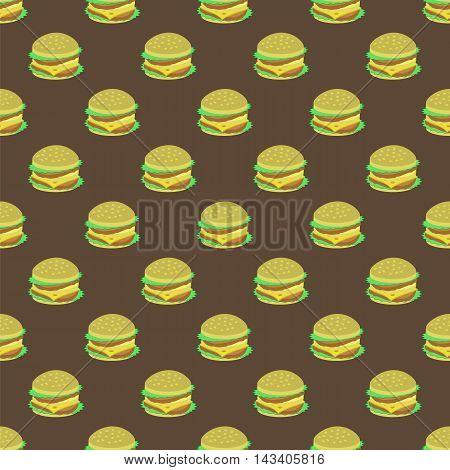 Hamburger Seamless Pattern on Dark Background. Set of Sandwiches. Unhealthy Fast Food