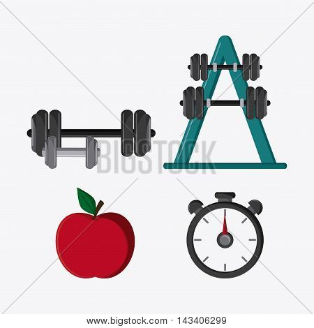 weight apple chronometer healthy lifestyle gym fitness icon. Colorful design. Vector illustration