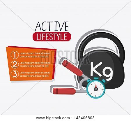 weight chronometer healthy lifestyle gym fitness icon. Colorful design. Vector illustration