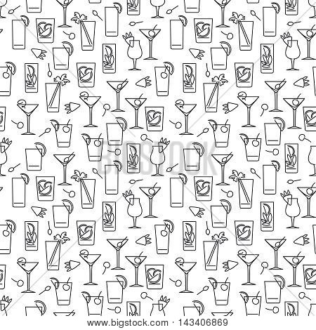 Black and white line cocktails seamless pattern vector