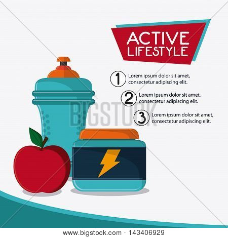 bottle apple protein healthy lifestyle gym fitness icon. Colorful design. Vector illustration