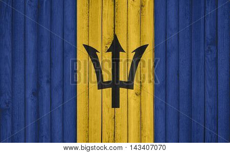 Flag of Barbados painted on wooden frame