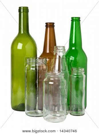 Glass bottles prepared for recycling