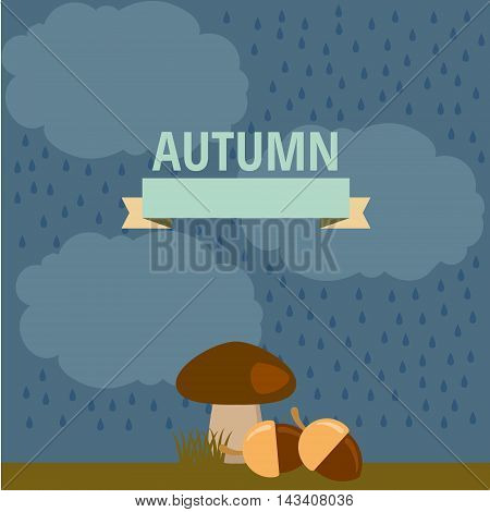 vector autumn illustration of mushroom in the rain and under the small clouds in the woods in nature