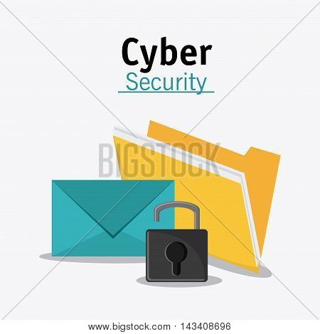 padlock file envelope cyber security system technology icon. Flat design. Vector illustration