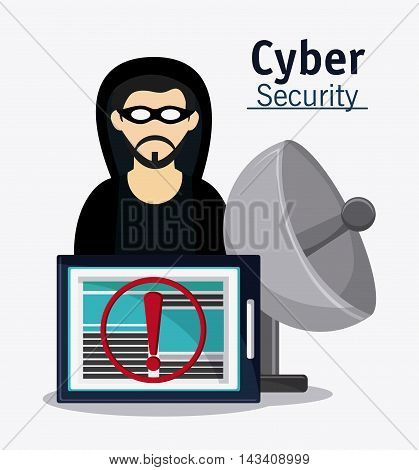 hacker tablet antenna cyber security system technology icon. Flat design. Vector illustration