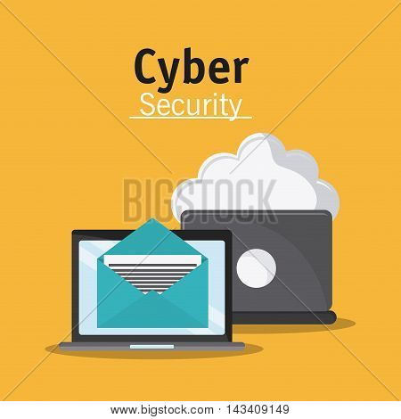 laptop envelope cloud cyber security system technology icon. Flat design. Vector illustration