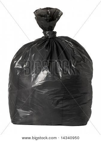 Tied black rubbish bag