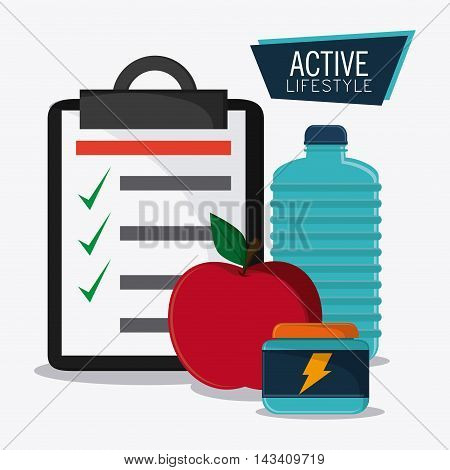 water bottle apple check list protein healthy lifestyle gym fitness icon. Colorful design. Vector illustration