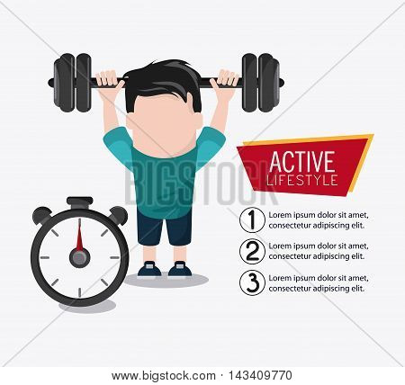 boy man cartoon chronometer weight lifting healthy lifestyle gym fitness icon. Colorful design. Vector illustration