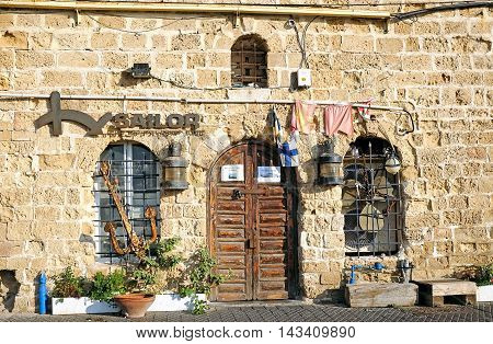 JAFFA ISRAEL - AUGUST 07 2016: Sailors school and Office for rental boats and yachts in the old Jaffa