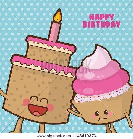 cake muffin cupcake cartoon celebration happy birthday icon. Colorful design. Vector illustration