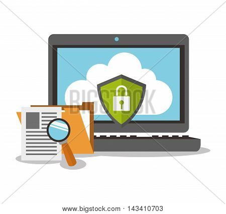 padlock laptop cyber security system technology icon. Flat design. Vector illustration