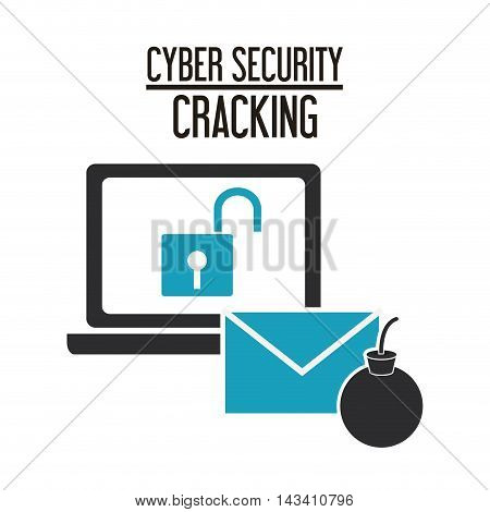 padlock laptop envelope cyber security system cracking technology icon. Flat design. Vector illustration