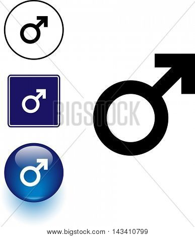 male gender symbol sign and button