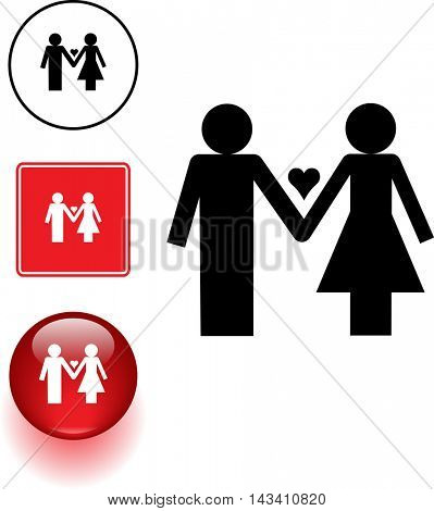 couple in love symbol sign and button
