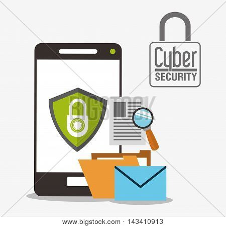 padlock smartphone envelope cyber security system technology icon. Flat design. Vector illustration
