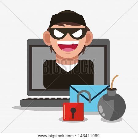 hacker envelope padlock cyber security system technology icon. Flat design. Vector illustration