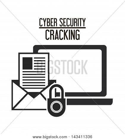 padlock laptop envelope cyber security system cracking technology icon. Flat and silhouette design. Vector illustration