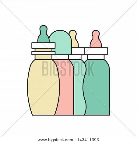 Vector baby bottle. Baby milkbottle flat icon. Baby bottle feeding vector illustration.