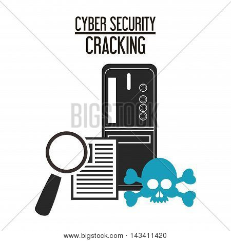 lupe document cyber security system technology icon. Flat design. Vector illustration