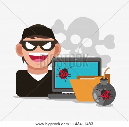 hacker file laptop bug cyber security system technology icon. Flat design. Vector illustration